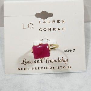 LC Lauren Conrad Square Red Agate Ring New